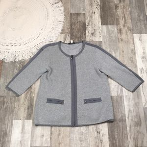 LizClaiborne Medium Grey Zip Up Sweater Jacket